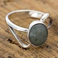 Jade cocktail ring, 'Round Maya Abstract' - Modern Sterling Silver Ring with Guatemalan Jade