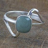 Jade cocktail ring, 'Maya Abstract' - Modern Sterling Silver Ring with Guatemalan Jade