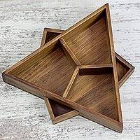 Wood catchall tray, 'Harmony in Geometry' - Star Shaped Catchall Wood Tray Crafted by Hand in Guatemala
