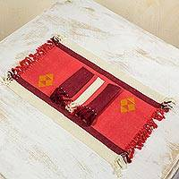 Cotton placemats and napkins, 'Cherry Orchard Path' (set for 4) - Red Handwoven Cotton Table Linens from Guatemala Set for 4