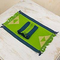 Cotton placemats and napkins, 'Paths Across the Meadow' (set for 4) - Modern Blue and Green Handwoven Cotton Table Linens for 4