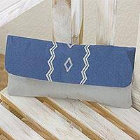 Cotton clutch handbag, 'Blue Maya Sky' - Maya Backstrap Loom Handwoven Blue and Grey Cotton Clutch