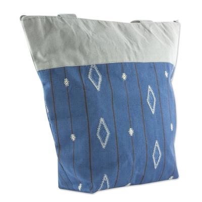 Blue and Grey Cotton Maya Backstrap Loom Shoulder Bag