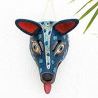Wood mask, 'Nocturnal Coyote' - Guatemalan Artisan Hand Carved and Painted Wood Coyote Mask