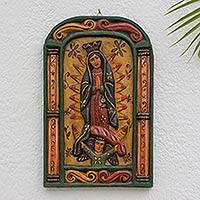Wood relief panel, 'Virgin of Guadalupe Blessings' - Artisan Carved Wood Relief Panel of the Virgin of Guadalupe