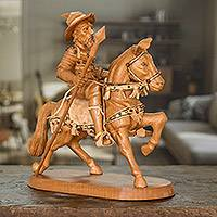 Wood sculpture, 'Quixote on Horseback' - Hand Carved Wood Statuette of Don Quixote on a Horse