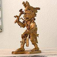 Cedar sculpture, 'Maya Rain God Chaac' - Maya Rain God Cedar Wood Sculpture from Guatemala