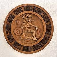 Cedar relief sculpture, 'Maya Ball Player' - Maya Ball Court Marker Cedar Relief Panel Sculpture
