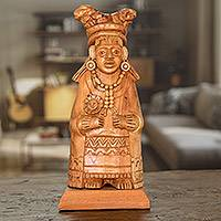 Wood sculpture, 'Mayan Midwife' - Hand-Carved Wood Sculpture of a Mayan Woman from Guatemala