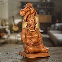 Cedar sculpture, 'Devoted Midwife' - Handcrafted Cedar Mayan Sculpture from Guatemala