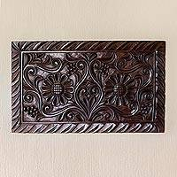 Wood wall panel, 'Sunflowers' - Hand Crafted Wood Wall Panel with Sunflower Motif