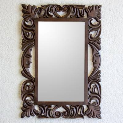 Wood wall mirror, 'Moon Vines' - Handcrafted Pinewood Leaf and Moon Mirror from Guatemala
