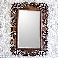 Wood wall mirror, 'Sunflower Elegance' - Handcrafted Pinewood Floral Motif Mirror from Guatemala