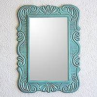 Wood wall mirror, 'Sunflower View in Aqua' - Handcrafted Pinewood Floral Mirror in Aqua from Guatemala