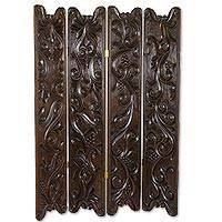 Wood folding screen, 'Sinuous Vines' - Artisan Crafted Pine Wood Folding Screen from Guatemala