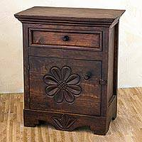 Wood bureau, 'Antigua Blooms' - Artisan Crafted 24-Inch Pinewood Bureau from Guatemala