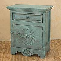 Wood bureau, 'Antigua Aqua Blooms' - Aqua Hand Crafted Pinewood 24-Inch Bureau from Guatemala