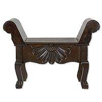Wood storage bench, 'Flower of Peten' - Brown Wood Storage Bench with a Hand Carved Flower