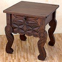 Wood accent table, 'Antique Floral' - Hand Crafted 22-Inch Pinewood Accent Table with Floral Motif