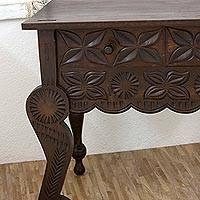 Wood accent table, 'Antique Blossoms' - Artisan Crafted Pine Wood Accent Table with Floral Motif