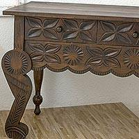 Wood accent table, 'Brown Antique Blossoms' - Rustic Artisan Carved Brown Wood Table with 3 Drawers