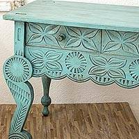 Wood accent table, 'Aqua Antique Blossoms' - Aqua Rustic Artisan Crafted Wood Table with 3 Drawers
