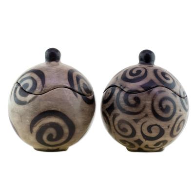 Lenca Artistry Black and Grey 5 Inch Ceramic Jars (Pair)