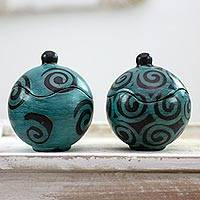 Ceramic jars, 'Turquoise Shadow Snail'  (pair) - 2 Lenca Artisan Handcrafted Black and Turquoise Ceramic Jars