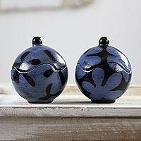 Ceramic decorative jars, 'Black and Blue Blossoms' (pair) - Set of Two Round Ceramic Jars with Lids in Blue and Black