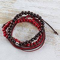Wood and cotton bracelets, 'Love Amulet' (set of 3) - Red Brown Set of 2 Beaded Bracelets Plus Wristband