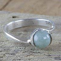 Jade single stone ring, 'Nascent Lily' - Light Green Maya Jade Sterling Silver Ring