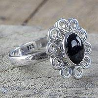 Jade cocktail ring, 'Black Maya Blossom' - Silver Flower Ring Handcrafted with Black Maya Jade