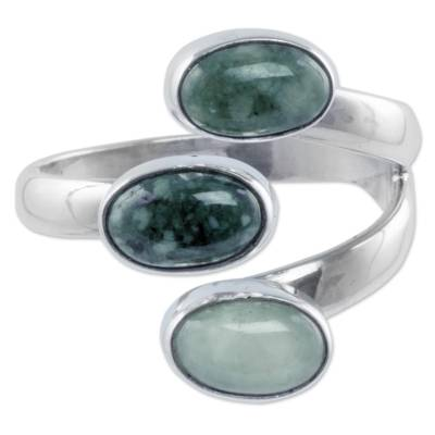 Jade wrap ring, 'Enchanted Attraction' - Handcrafted Guatemala Jade and Silver Wrap Ring