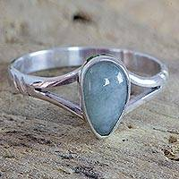 Jade cocktail ring, 'Gentle Dewdrop' - Artisan Crafted Sterling Silver Ring Light Green Maya Jade