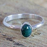 Jade ring, 'Dappled Green' - Guatemala Dappled Green Jade Sterling Silver Ring