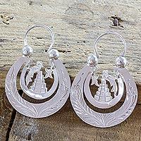 Sterling silver hoop earrings,