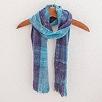 Rayon chenille scarf, 'Orchid Lake' - Light Blue and Purple Hand Woven Rayon Chenille Scarf