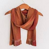 Rayon chenille scarf, 'Solola Dawn' - Orange Brown Maroon Hand Woven Rayon Chenille Scarf