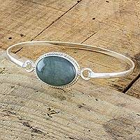 Jade bangle bracelet, 'Aqua Green Shadow' - Aqua Green Jade Handcrafted Sterling Silver Bangle Bracelet