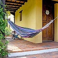 Cotton hammock, 'Life and Color' (single) - Guatemalan Single Cotton Hammock in Multicolor Stripes