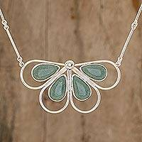 Jade pendant necklace, 'Butterfly of Harmony' - Hand Crafted Sterling Silver Butterfly Necklace Set with Gua