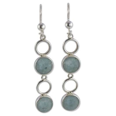 Polished Sterling Silver and Guatemalan Jade Dangle Earrings