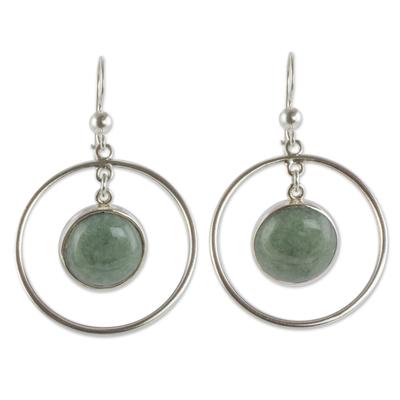 Silver 925 Contemporary Apple Green Jade Earrings