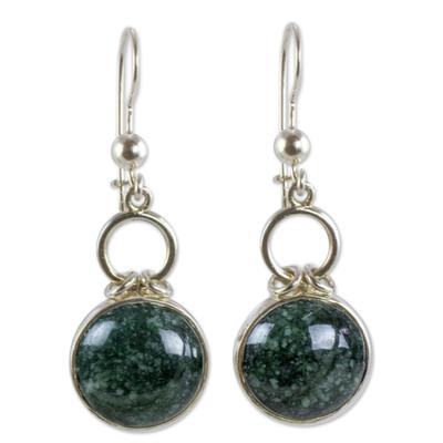 Jade Earrings in Silver 925 Handcrafted in Guatemala
