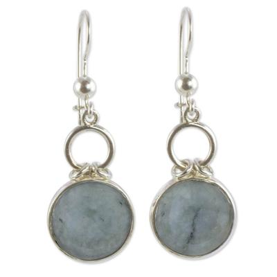 Guatemalan Light Green Jade Dangle Earrings in Silver 925
