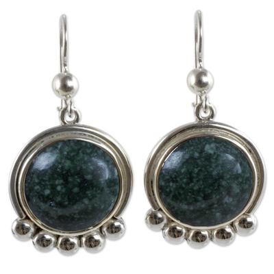 Silver 925 Dangle Earrings with Dark Green Jade