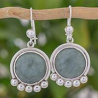 Jade dangle earrings, 'Cool Inspiration' - Silver 925 Dangle Earrings with Pale Green Jade