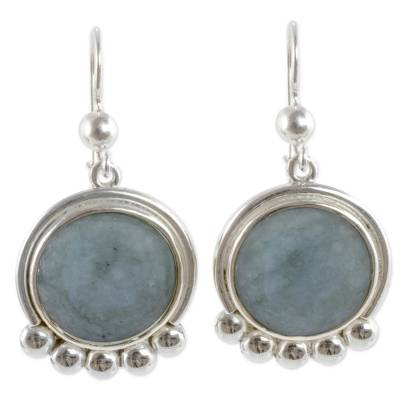 Silver 925 Dangle Earrings with Pale Green Jade
