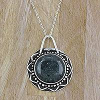 Jade pendant necklace, 'Rising Maya Sun' - Jade Antiqued Sun Pendant on Sterling Silver Necklace