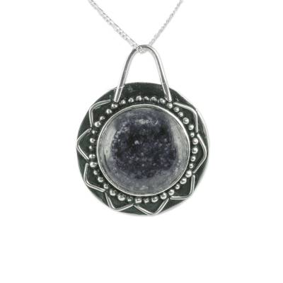 Jade Antiqued Sun Pendant on Sterling Silver Necklace